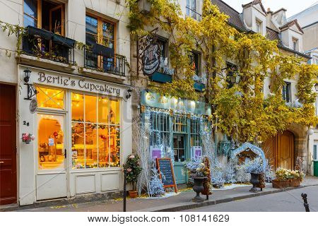 Typical Parisian cafe Christmas decorated in Paris