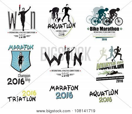 Set of modern sports: triathlon, marathon, aquatlon, cycling logos, icons and design elements.