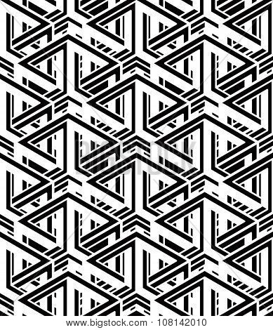Monochrome Abstract Vector Endless Background, Three-dimensional Repeated Pattern. Decorative Grap
