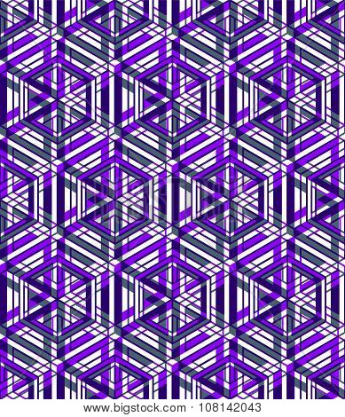 Purple Seamless Pattern With Interweave Figures. Continuous Geometric Composition With Tra