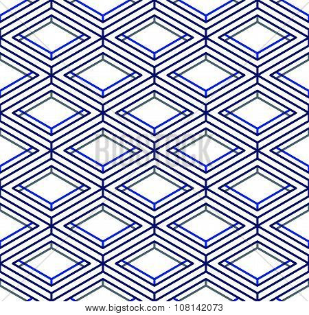Contemporary abstract endless blue background three-dimensional repeated pattern. Decorative graphic