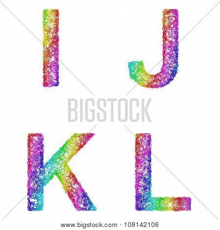 Rainbow sketch font set - letters I, J, K, L