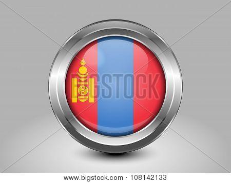 Flag Of Mongolia. Metal Round Icon. Symbol for Macedonia