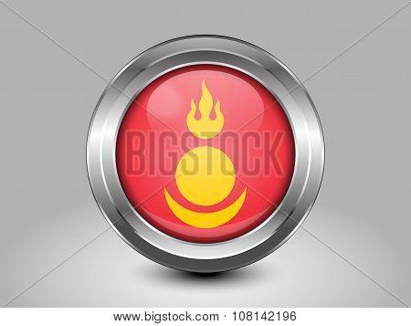 Mongolia Variant Flag. Metal Round Icon. Symbol for Macedonia