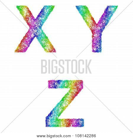Rainbow sketch font set - letters X, Y, Z
