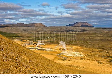 Namafjall geothermal area east of lake Myvatn at north Iceland