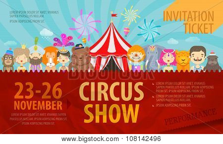 Circus. Design template posters or ticket. Vector illustration