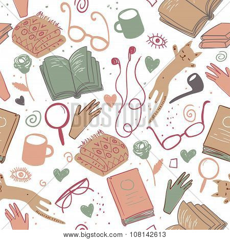 Vector bookworm stuff pattern