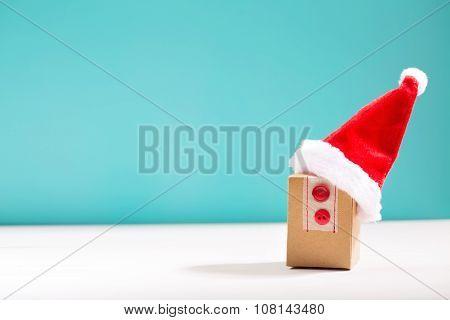 Gift Box With Santa Hat