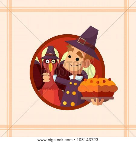Card With Cartoon Pilgrim For Thanksgiving
