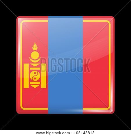 Mongolia Variant Flag. Glassy Icon Square Shape