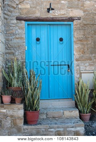 Traditional Exterior House Courtyard With Blue Wooden Door And Plants