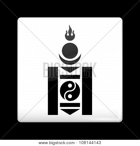 Mongolian Soyombo In Black And White. Glassy Icon Square Shape