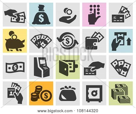 money set black icons. signs and symbols