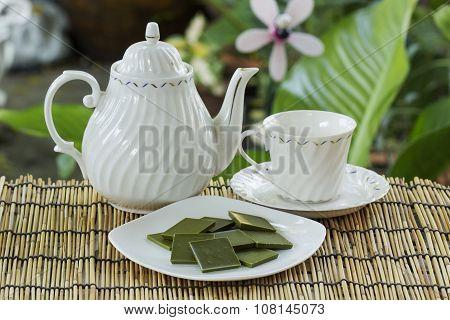 Matcha Chocolate With Pot Of Tea