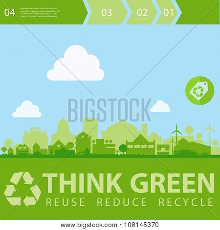 Think Green Vector illustration with small town