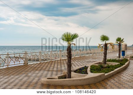 Empty Black Sea-front in the central part of Alushta city
