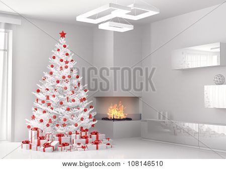 White Christmas Tree In The Room 3D Render