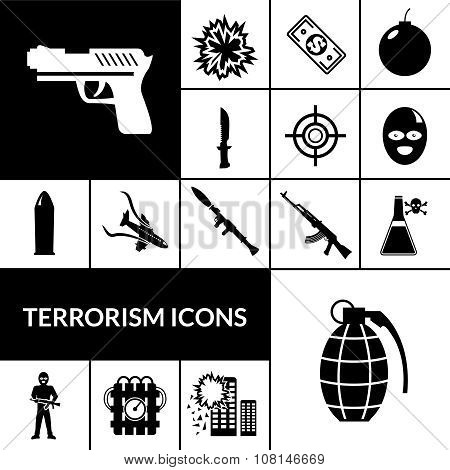 Terrorism Icons Black