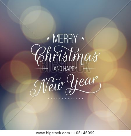 Merry Christmas and Happy New Year card. Vector bokeh background, festive defocused lights.