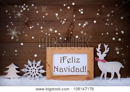 White Decoration On Snow, Feliz Navidad Means Merry Christmas