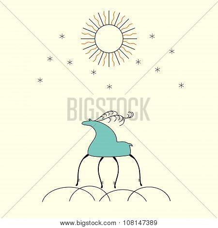 Folk Deer Silhouette Ornamental Background