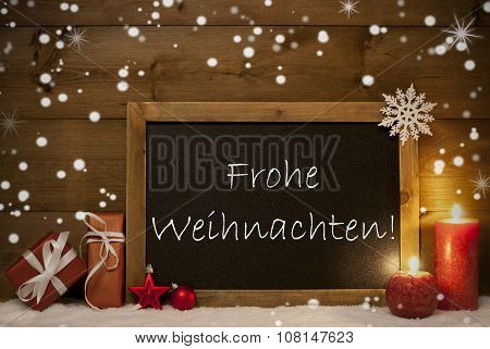 Card, Blackboard, Snowflakes, Frohe Weihnachten Mean Christmas