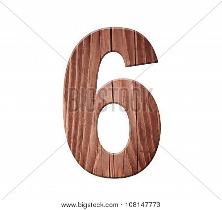 Wooden Digit One Symbol - 6. Isolated On White Background