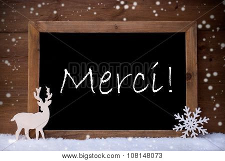 Vintage Christmas Card, Blackboard, Snow, Merci Mean Thank You