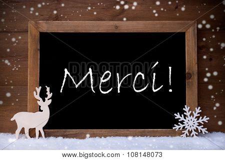 Vintage Christmas Card, Blackboard, Snow, Merci Mean Thank You