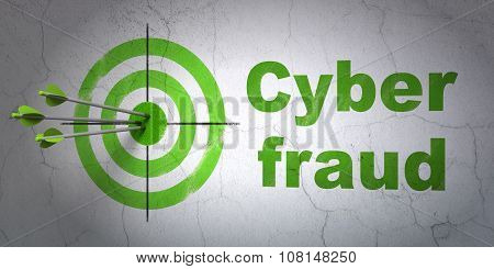 Safety concept: target and Cyber Fraud on wall background