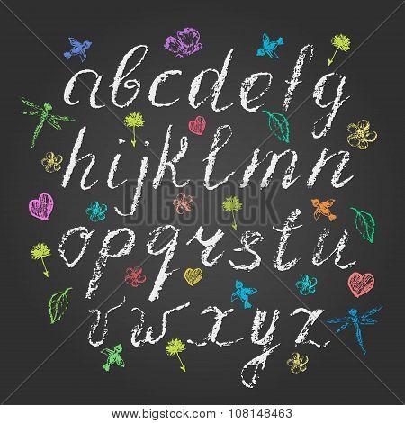 Hand Written Chalk Lowercase English Alphabet