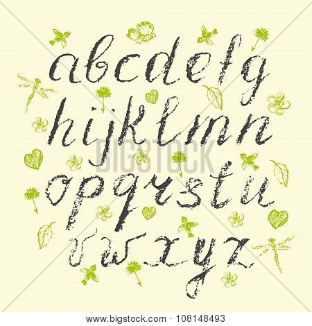 Hand Written Charcoal Lowercase English Alphabet