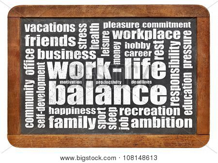 work life balance concept - a word cloud on a vintage slated blackboard