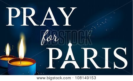 pray for paris, Abstract Background. Silhouette of Eiffel tower in  lights and bokeh with candles.