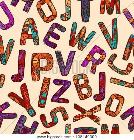 Zentangle Alphabet Seamless Pattern