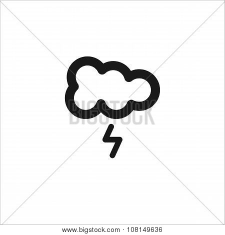 Black Cloud With Lightning Vector Line Icon
