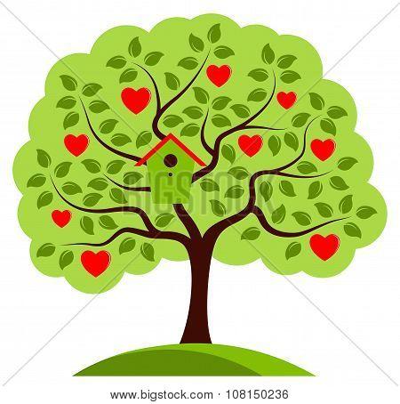 Heart Tree With Nesting Bird Box