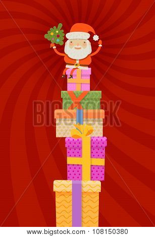 Merry Christmas and happy new year. Santa Claus and gifts. vector illustration