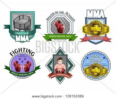 Mma fighting emblems labels set