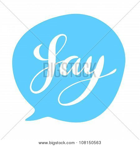 Say hand lettering text balloon