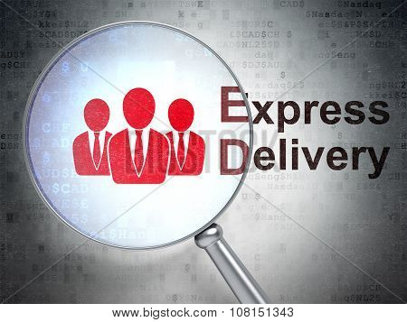 Business concept: Business People and Express Delivery with optical glass