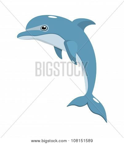 Blue Dolphin On A White Background