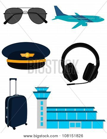 Set icons airplane pilot isolated on white background. Vector illustration
