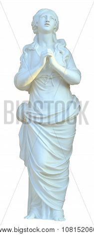 The sculpture maiden praying isolated.