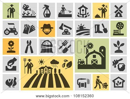 farm icons set. collection elements grower, gardener, field, honey, plant, harvest, barn, tractor, t