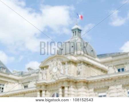 Defocused Background Of The Luxembourg Palace In Paris, France