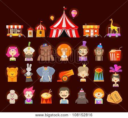 circus icons set. vector illustration