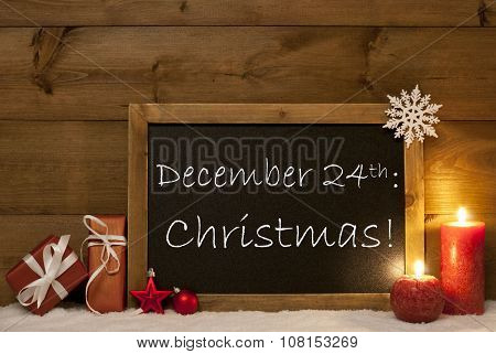 Festive Christmas Card, Blackboard, Snow, Candles, December 24th