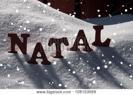 Card With Snow And Word Natal Mean Christmas, Snowflakes